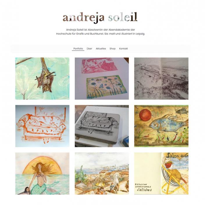 Website Andreja Soleil Künstlerin